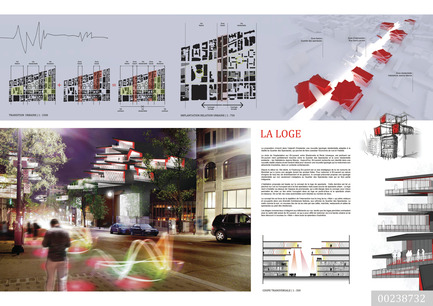 Press kit | 801-06 - Press release | Announce of the results of the urban design ideas contest for the Quartier Latin - Arrondissement de Ville-Marie - Competition -  MENTION OF THE JURY<br><br>Groupe Leclerc Architecture + Design<br>Pierre Leclerc, architecte<br>LA LOGE