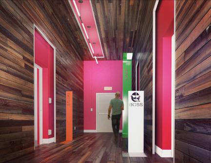 Press kit | 760-01 - Press release | Offices of the Upperkut agency - Jean de Lessard, Designers Créatifs - Commercial Architecture - Corridor - Photo credit: Jean de Lessard
