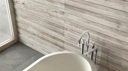 Dossier de presse | 798-05 - Communiqué de presse | Ramacieri Soligo présentela nouvelle collection Woodside - Ramacieri Soligo - Produit -         WOODSIDE, mur Maple Listellato 25 x 120 cm