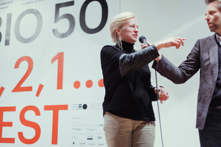 Press kit | 1171-01 - Press release | Fast approaching BIO 50 starts September 18th 2014 - Museum of Architecture and Design (MAO), Ljubljana - Event + Exhibition - Rianne Makkink, mentor to Affordable living team, and Jan Boelen, head curator of BIO 50, at BIO Kick-off event - Photo credit: Lucijan & Vladimir