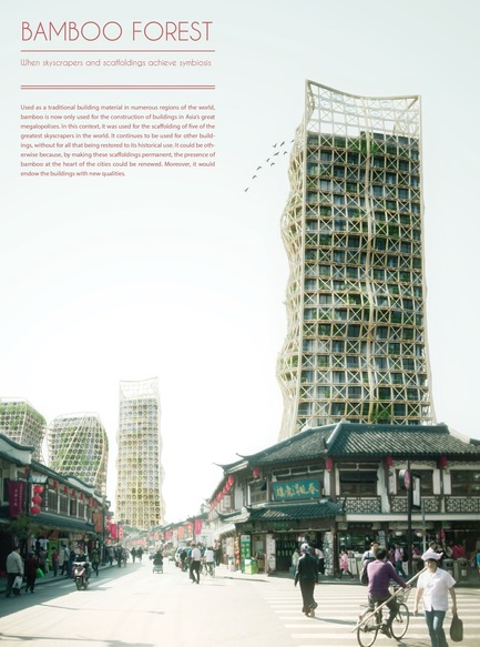 Press kit | 1127-01 - Press release | Winners 2014 eVolo Skyscraper Competition - eVolo Magazine - Competition - Honorable Mention. Bamboo Forest: Skyscrapers And Scaffoldings In Symbiosis. Thibaut Deprez (France)www.evolo.us/competition/bamboo-forest-skyscrapers-and-scaffoldings-in-symbiosis