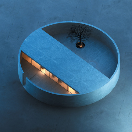 Dossier de presse | 902-02 - Communiqué de presse | A' Design Awards 2014 Les Gagnants Annoncés - A' Design Award and Competition - Concours -  The Ring House & Atelier by MZ Architects<br><br>PROJECT DESCRIPTION:<br>The proposed building consists of a cylindrical volume embracing a rectangular one. The cylinder acts as a protective closed wall with a single narrow opening serving as the entrance, while the inside rectangle accommodates fluidly all the house functions necessary for the everyday life of the artist: a bedroom, a bathroom, a living room, a kitchen and an atelier. The interior space interacts smoothly with the serene outdoor atrium, a large terrace garden with one symbolic tree and a circular water feature.  - Crédit photo :  MZ Architects, The Ring House, 2013.