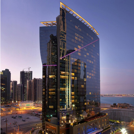 Dossier de presse | 902-02 - Communiqué de presse | A' Design Awards 2014 Les Gagnants Annoncés - A' Design Award and Competition - Concours -  W Doha Hotel & Residences <br>Hotel & Residences by MZ Architects<br><br>PROJECT DESCRIPTION:<br>The W is an internationally recognized luxury boutique hotel brand that was launched in 1998 with the W New York, and has since expanded with over fifty hotels and resorts around the world. W has become the fastest growing luxury hotel brand in the world, with each hotel offering a unique mix of innovative design and comfort. The client brief was to create an iconic mid-rise hotel with approximately 71,500 sqm of practical and efficient hotel and residential spaces. The client' and W brand's wish was to build a hotel distinctively inspired by the city of Doha yet underlining the brand's unique values, mixing cutting-edge design with local influences and creating a place to play or work by day, or to mix and mingle in high-energy spaces by night.   - Crédit photo : W Doha Hotel & Residences, 2011.