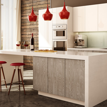 Dossier de presse | 902-02 - Communiqué de presse | A' Design Awards 2014 Les Gagnants Annoncés - A' Design Award and Competition - Concours - Rough Chic <br>Kitchen Cabinet Door Material by Miralis<br><br>PROJECT DESCRIPTION:<br>This product enhances the features and characteristics of wood altered by the seasons. It is textured like barn wood. The beauty of this product lies in the details of a perfectly textured wood and the authenticity of each natural characteristic cleverly revealed such as knots, cracks, spalted wood, grub holes, termite holes and/or natural splinters. This design is available in 2 different model (slab and shaker) and six different colours including natural. This product allows designers to perfectly align the rough and the chic.  - Crédit photo : Miralis and Pixi Studio
