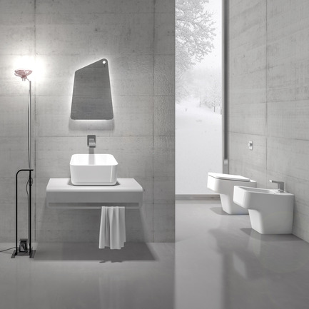 Dossier de presse | 902-02 - Communiqué de presse | A' Design Awards 2014 Les Gagnants Annoncés - A' Design Award and Competition - Concours - Up <br>Bathroom Collection by Emanuele Pangrazi<br><br>PROJECT DESCRIPTION:<br>Up, bathroom collection designed by Emanuele Pangrazi, shows how a simple concept can generate innovation. The initial idea is to improve the comfort slightly tilting the seating plane of the sanitary. This idea turned into the main design theme and it is present in all the elements of the collection. The main theme and the strict geometric relationships give the collection a contemporary style in line with European taste.  - Crédit photo : Emanuele Pangrazi, 2013.