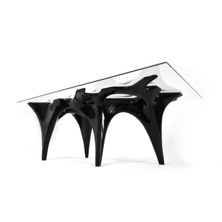 "Dossier de presse | 902-02 - Communiqué de presse | A' Design Awards 2014 Les Gagnants Annoncés - A' Design Award and Competition - Concours - FLUX table<br>Table by Mehran Gharleghi and Amin Sadeghy<br><br>PROJECT DESCRIPTION:<br>Mehran Gharleghi and Amin Sadeghy from Studio INTEGRATE have created ""Flux Table"" within their exploration of fusing the legacy of Islamic art with contemporary modes of computation. The intricate geometry and pattern of this table is derived from a basic ""Toranj"", a mathematical pattern used in Iranian Architecture; from which a smooth transition between two layers of strict geometric pattern is constructed. The generated form is manufactured using digital fabrication technologies.  - Crédit photo : Angus Leedley Brown, Mehran Gharleghi, Amin Sadeghi and Diana Araya"