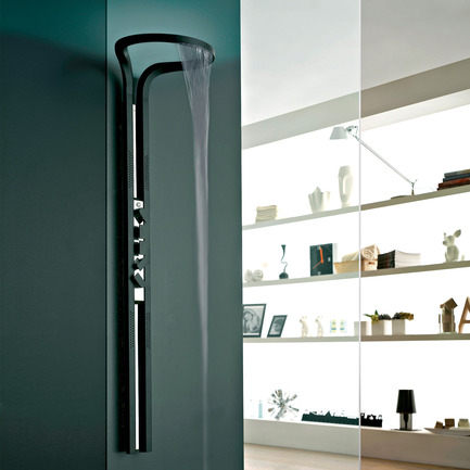 Press kit | 902-02 - Press release | A' Design Awards 2014 Winners Announced - A' Design Award and Competition - Competition - Ametis <br>Shower System by Graff<br><br>PROJECT DESCRIPTION:<br>Ametis; a symbol of the fusion between the universe above and the oceans below, is a futuristic ode to high design in the bathroom. The shower column, containing many high-tech engineering features, integrates a chromotherapy system with RGB LED lighting within the ring that gives a completely new dimension to the column, thanks to the indirect lighting, still a little used concept in bathroom design. This creates a soothing halo effect for the desired ambiance.  - Photo credit: GRAFF, 2014