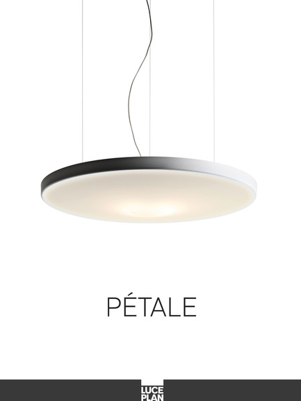 Press kit | 1152-01 - Press release | Lighting up Artopex's new showroom - LumiGroup - Lighting Design - Pétale<br>Luceplan<br>Designer: Decq, Odile	| 2011<br><br>A suspension lamp with an organic form which conceals the magic of silence within: the body consists of a soundabsorbent panel upholstered in white fabric, improving acoustic comfort within the environment. Available in two sizes.<br> - Photo credit: Luceplan