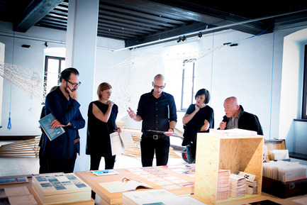 Press kit | 1171-03 - Press release | The Winners of the Best Collaboration Awards were revealed at the opening of BIO 50 - Museum of Architecture and Design (MAO), Ljubljana - Event + Exhibition - Konstantin Grcic, BIO 50 jury member (left), Tina Gregorič and Aljoša Dekleva, mentors of group Nanotourism (in the middle), Alice Rawsthorn and Sasa J. Maechtig, BIO 50 jury members (right), at project presentation - Photo credit: Ana Kovac/MAO