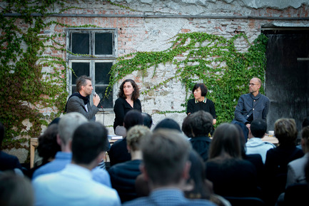 Press kit | 1171-03 - Press release | The Winners of the Best Collaboration Awards were revealed at the opening of BIO 50 - Museum of Architecture and Design (MAO), Ljubljana - Event + Exhibition - Jan Boelen, Vera Sacchetti, Alice Rawsthorn and Justin McGuirk at the lecture and talk on Designing Everyday Life on the Opening day of BIO 50 - Photo credit: Ana Kovac/MAO