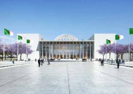 Press kit | 1188-03 - Press release | New Algerian Parliament - Bureau Architecture Méditerranée - Institutional Architecture - Congress of the Republic of Algeria&nbsp;<br>Perspective view from the courtyard - Photo credit: Bureau Architecture Méditerranée