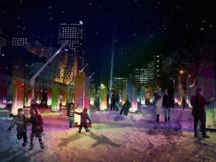 Press kit | 562-48 - Press release | Luminothérapie Competition: And the winners for 2014-2015 are... - Bureau du design - Ville de Montréal - Urban Design - Prismatica  - night perspective - Photo credit: Raw Design