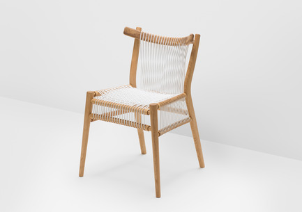Press kit | 1539-01 - Press release | Loom Collection by H: Inspired by Mexican Tradition - H - Industrial Design -  Loom Chair<br>H: 78cm; W: 52cm; D: 55cm<br>Oak, White Cords<br>Designer: Hierve - Photo credit: Peter Guenzel