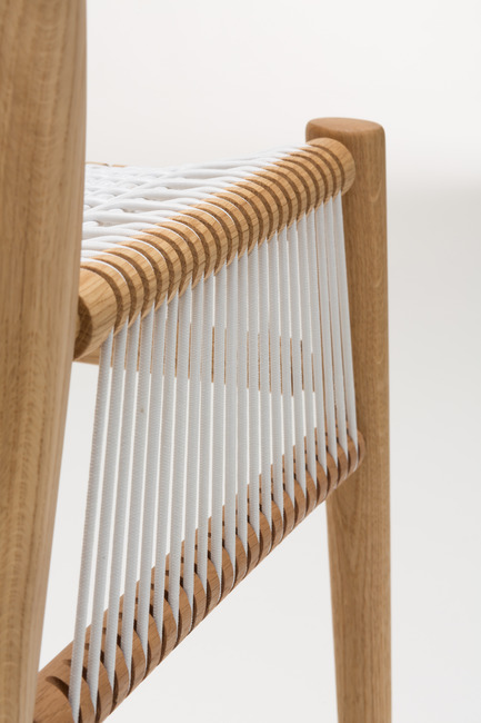 Press kit | 1539-01 - Press release | Loom Collection by H: Inspired by Mexican Tradition - H - Industrial Design -   Loom Chair<br>H: 78cm; W: 52cm; D: 55cm<br>Oak,White Cords<br>Designer: Hierve  - Photo credit: Peter Guenzel