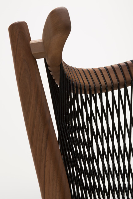 Press kit | 1539-01 - Press release | Loom Collection by H: Inspired by Mexican Tradition - H - Industrial Design -   Loom Chair<br>H: 78cm; W: 52cm; D: 55cm<br>Walnut, Black Cords<br>Designer: Hierve - Photo credit: Peter Guenzel