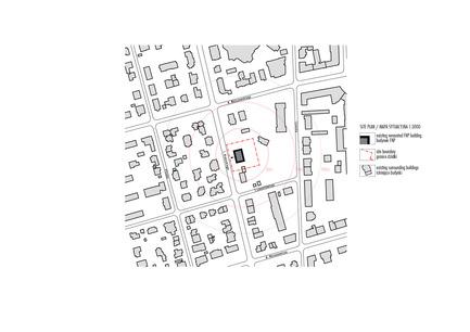 Dossier de presse | 1139-03 - Communiqué de presse | Siège social de la Fondation pour la Science Polonaise - FAAB Architektura - Architecture commerciale - Site plan 1:3000 - Crédit photo : © FAAB Architektura