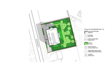 Press kit | 1139-03 - Press release | Foundation for Polish Science Headquarters - FAAB Architektura - Commercial Architecture - Site plan 1:500 - Photo credit: © FAAB Architektura