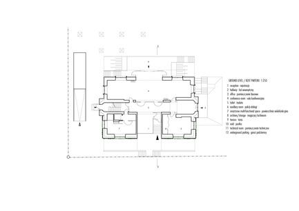 Press kit | 1139-03 - Press release | Foundation for Polish Science Headquarters - FAAB Architektura - Commercial Architecture - Ground level 1:250<br> - Photo credit: © FAAB Architektura