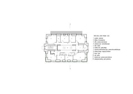 Dossier de presse | 1139-03 - Communiqué de presse | Siège social de la Fondation pour la Science Polonaise - FAAB Architektura - Architecture commerciale - First level 1:250 - Crédit photo : © FAAB Architektura