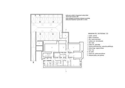 Press kit | 1139-03 - Press release | Foundation for Polish Science Headquarters - FAAB Architektura - Commercial Architecture - Underground level 1:250<br> - Photo credit: © FAAB Architektura
