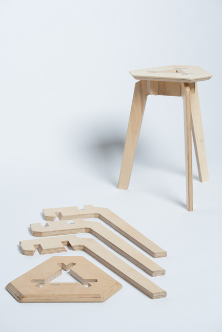 Dossier de presse | 884-04 - Communiqué de presse | HEC Project 2014 Edition - Faculté d'aménagement de l'Université de Montréal - Industrial Design -  Trois<br><br>Trois is a mountable stool that can easily be disassembled. Made up of 4 pieces of plywood that fit together perfectly, no hardware is necessary to hold the structure in place. Its straight forward and refined aesthetic stems from its simplified mecanism of assembly.<br><br>François Corriveau<br>Léo Gaudreault Arsenault<br>Jérôme Laurendeau-Rivard<br>  - Crédit photo : Olivier Ouimet 2014 - www.olivierouimet.com
