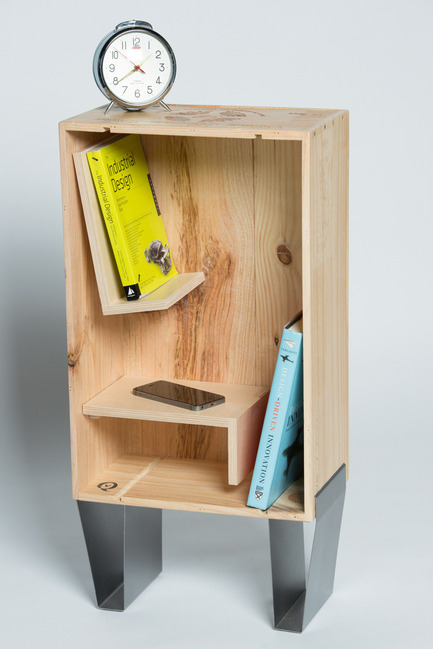 Dossier de presse | 884-04 - Communiqué de presse | HEC Project 2014 Edition - Faculté d'aménagement de l'Université de Montréal - Industrial Design - QV<br><br>QV is a storage cabinet with swivelling shelves. It is made form wooden wine boxes wich have travelled from Europe. This adds a different personnality to each and every one of the cabinets. The Legs are from folded steel and are assembled to the cabinet with a designated groove to insert the leg.<br><br>André Allard<br>Isabelle Messier<br>Sarah Noël<br>Geneviève St-Pierre<br> - Crédit photo : Olivier Ouimet 2014 - www.olivierouimet.com