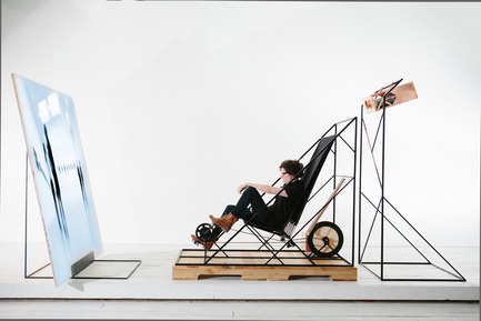 Press kit | 1097-03 - Press release | Machines travelling between the past and the future for the Art Directors Club of New York - Les Ateliers Guyon - Product - long-chair- stationary-bike - Photo credit: Simon Chenier and Les Ateliers Guyon