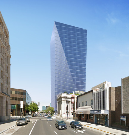 Dossier de presse | 1204-02 - Communiqué de presse | Pei Cobb Freed & Partners Designs an Iconic Tower for Downtown Sacramento - Pei Cobb Freed & Partners - Architecture commerciale - View looking west along J Street - Crédit photo : Pei Cobb Freed & Partners