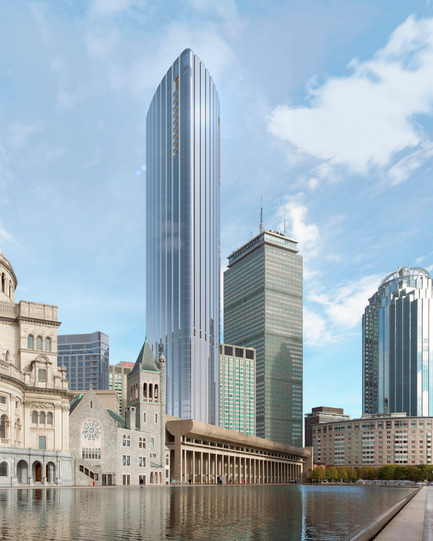 Dossier de presse | 1204-03 - Communiqué de presse | Boston's Tallest Residential Building, Designed by Pei Cobb Freed & Partners, Breaks Ground - Pei Cobb Freed & Partners - Residential Architecture - View from Christian Science Plaza - Crédit photo :  Pei Cobb Freed & Partners, Cambridge Seven Associates