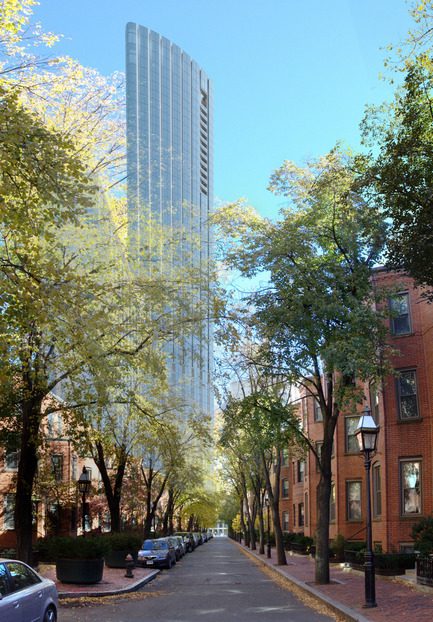 Dossier de presse | 1204-03 - Communiqué de presse | Boston's Tallest Residential Building, Designed by Pei Cobb Freed & Partners, Breaks Ground - Pei Cobb Freed & Partners - Residential Architecture -  View east along St. Germain Street  - Crédit photo :  Pei Cobb Freed & Partners, Cambridge Seven Associates