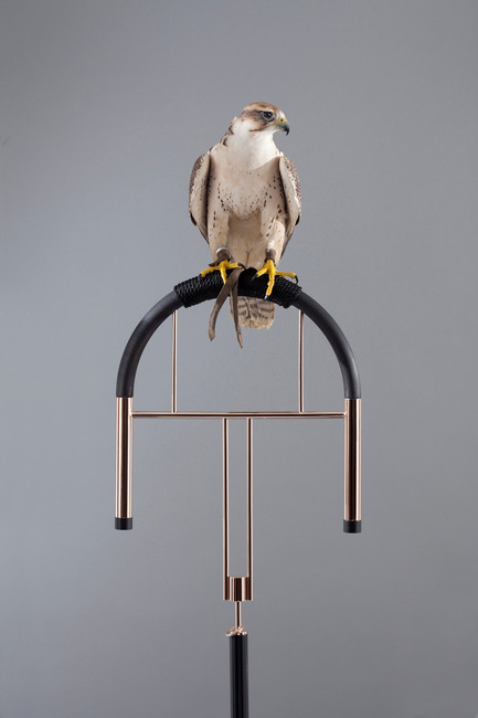 Dossier de presse | 1604-02 - Communiqué de presse | International Design Talent, World Premieres and Live Performances to Inspire at Design Days Dubai - Design Days Dubai - Évènement + Exposition - Massimo Faion, Posa 2, 2015. GoldPink GoldSilver plated brass, marble and beech wood. 40 x 40 x 155 (h) cm - Crédit photo : Courtesy Carwan Gallery