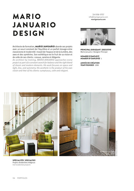 Press kit | 611-17 - Press release | Index-design launches the 6th edition of the Guide – 200 interior designers from Quebec - Index-Design - Edition - Mario Januario - 2 Pages Portfolio  - Photo credit: Index_design