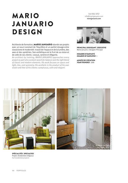Dossier de presse | 611-17 - Communiqué de presse | Index-design launches the 6th edition of the Guide – 200 interior designers from Quebec - Index-Design - Edition - Mario Januario - 2 PagesPortfolio - Crédit photo : Index_design