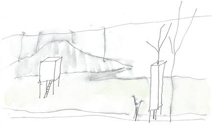 Press kit | 837-12 - Press release | THE WHITE ROOMS  by architect Pierre Thibault at Les Jardins de Métis / Reford Gardens - International Garden Festival - Event + Exhibition - Sketch by Pierre Thibault - Photo credit: Atelier Pierre Thibault