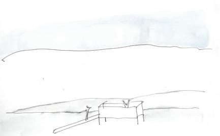 Press kit | 837-12 - Press release | THE WHITE ROOMS  by architect Pierre Thibault at Les Jardins de Métis / Reford Gardens - International Garden Festival - Event + Exhibition - Sketch by Pierre Thibault. - Photo credit: Atelier Pierre Thibault