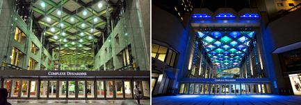 Dossier de presse | 621-20 - Communiqué de presse | A Dynamic NewLighting Signature for Complexe Desjardins - Lightemotion - Lighting Design - Complexe Desjardins - Before and After - Entrance to Retail Concourse - Crédit photo : LIghtemotion
