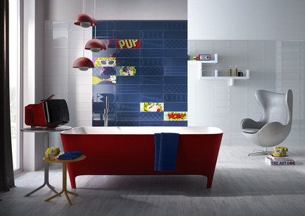 Press kit | 1606-01 - Press release | Une nouvelle céramique s'inspirant du Pop Art de Roy Lichtenstein - Ceratec - Product - Bathroom - Tiles showned: POP F & W, Cool F and Cartoon mix   - Photo credit:  POP Series By Ceratec