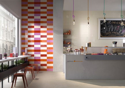 Press kit | 1606-01 - Press release | Une nouvelle céramique s'inspirant du Pop Art de Roy Lichtenstein - Ceratec - Product - Commercial - Tiles showned: Cool B, DM, O & R and POP B, DM, O & R  - Photo credit:  POP Series By Ceratec