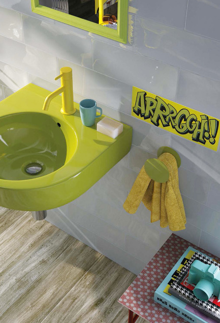 Press kit | 1606-01 - Press release | Une nouvelle céramique s'inspirant du Pop Art de Roy Lichtenstein - Ceratec - Product - Bathroom - Photo credit: POP series by Ceratec