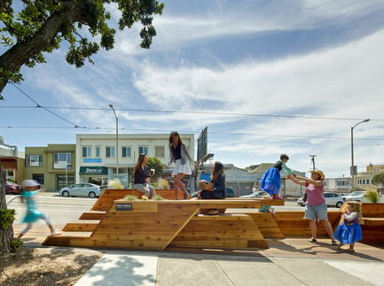 Press kit | 1187-03 - Press release | Announcing AIA San Francisco 2015 Design Awards winners - American Institute of Architects, San Francisco Chapter (AIA SF) - Competition - Sunset Parklet byINTERSTICE Architects Inc. - Photo credit: Cesar Rubio Photography