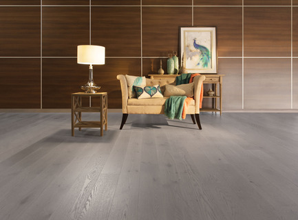 Press kit | 1639-01 - Press release | The new Flair collection by Mirage - Mirage Hardwood Floors - Residential Interior Design - White Oak Grey Drizzle - Light character<br> - Photo credit: Mirage Hardwood Floors<br>