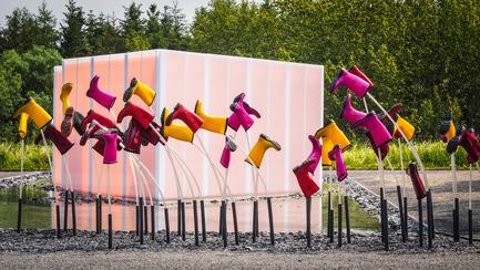 Press kit | 837-13 - Press release | Des jardins participatifs au 16e Festival international de jardins - Festival international de jardins / Jardins de Métis - Architecture de paysage - SE MOUILLER (la belle échappée), 2015 <br>Groupe A / Annexe U [Jean-François Laroche, Rémi Morency, Érick Rivard & Maxime Rousseau]<br><br>Québec (Québec) Canada<br><br>www.groupea.qc.ca<br><br>Commanditaires : KAMIK et Polyalto - Photo credit: Louise Tanguay