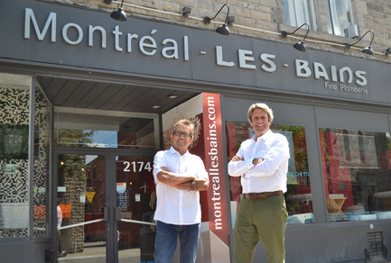 Dossier de presse | 846-16 - Communiqué de presse | Ceragres acquires Montréal-Les-Bains - Ceragres - Product -   Pierre Carrière, Sales and Development Manager for the fine plumbing division (left) and Guy Gervais, President of Ceragres (right) in front of Montréal-Les-Bains showroom, Montreal<br>   - Crédit photo : Ceragres