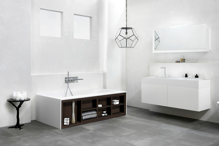 Press kit | 846-16 - Press release | Ceragres acquires Montréal-Les-Bains - Ceragres - Product -         Bath:Amanpuri Series / Blu-Stone —Furniture:Serie 1400 / Blu-Stone - Photo credit: Blu Bathworks