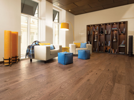 Press kit | 1639-02 - Press release | La collection Imagine : des planchers conçus pour mieux camoufler les aléas du quotidien - Planchers de bois franc Mirage - Residential Interior Design -  Old Red Oak Tree Bark, Distressed Look<br>  - Photo credit: Mirage Hardwood Floors