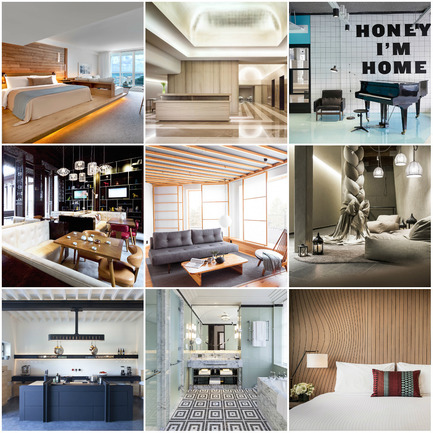 Press kit | 1124-06 - Press release | Shortlist announced for the World Interiors News Awards 2015 - World Interiors News - Commercial Interior Design - World Interiors News Awards 2015&nbsp;<br>Hotel Category Shortlist<br><br>Top row, left to right:&nbsp;<br>1 Hotel South Beach by Meyer Davis Studio Inc.<br>Knickerbocker Hotel by Gabellini Sheppard Associates<br>The Student Hotel by&nbsp;...,staat<br><br>Middle row, left to right:&nbsp;<br>The Heritage House Hotel by HWCD Associates<br>Yasuragi by&nbsp;White arkitekter AB<br>Hotel Ulrichshof &nbsp;by&nbsp;noa* - network of architecture<br><br>Bottom row,&nbsp;left to right:&nbsp;<br>Château de la Resle by&nbsp;CDLR Design<br>The Beaumont by&nbsp;Richmond International<br>Doubletree by Hilton Melbourne by&nbsp;M&amp;L Hospitality<br> - Photo credit: Various