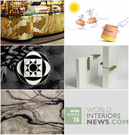 Press kit | 1124-06 - Press release | Shortlist announced for the World Interiors News Awards 2015 - World Interiors News - Commercial Interior Design - World Interiors News Awards 2015&nbsp;<br>Surface &amp; Interior Access ategory Shortlist&nbsp;<br><br>Top row, left to right:&nbsp;<br>   Harper Tile - Butlers Chocolate   Café by Giles Miller Studio<br>   Voltasol - the rolling flower pot by Studio BAG Disseny&nbsp;<br><br>Middle row, left to right:&nbsp;<br>   MY CHINA! Ca' d'Oro   from SIEGER by FÜRSTENBERG by sieger design GmbH   &amp; Co. KG<br>   PULL   HANDLE by RUSSIAN FOR FISH<br><br>Bottom row:&nbsp;<br>   Water collection of Hand   Knotted rugs by Tania Johnson Design&nbsp;<br> - Photo credit: Various