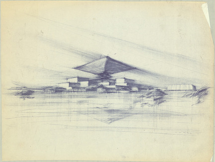 Press kit | 748-24 - Press release | Les dessins du grand architecte canadien Arthur Erickson présentés au Centre de design de l'UQAM - Centre de design de l'UQAM - Évènement + Exposition - Esquisse pour le Pavillon du Canada à Expo 67, Montréal, ca. 1964. - Photo credit:  Fonds Arthur Erickson, Canadian Architectural Archives, Université de Calgary.