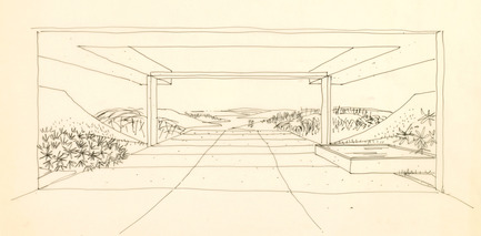 Press kit | 748-24 - Press release | Les dessins du grand architecte canadien Arthur Erickson présentés au Centre de design de l'UQAM - Centre de design de l'UQAM - Évènement + Exposition - Esquisse de la résidence Dyde, Edmonton, Alberta, 1964.  - Photo credit: Fonds Arthur Erickson, Canadian Architectural Archives, Université de Calgary.