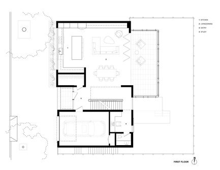 Press kit | 1733-02 - Press release | Noe Residence - Studio VARA - Residential Architecture -  Level 1 Plan  - Photo credit: Studio Vara